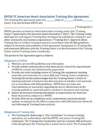 Association Training Site Agreement