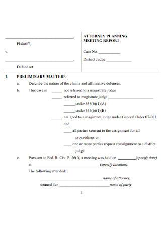 Attorney Planning Meeting Report
