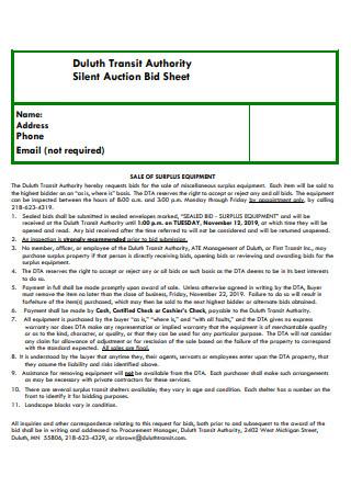 Authority Silent Auction Bid Sheet
