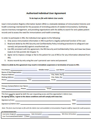 Authorized Individual User Agreement
