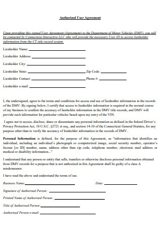 Authorized User Agreement