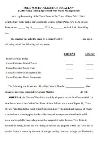 Authorizing Tolling Agreement