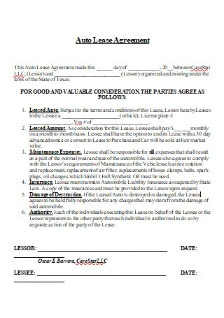 Auto Vehicle Lease Agreement