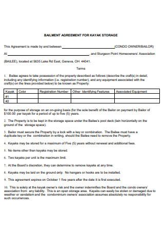 Bailment Agreement For Storage