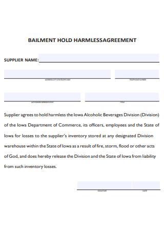 Bailment Hold Harmless Agreement