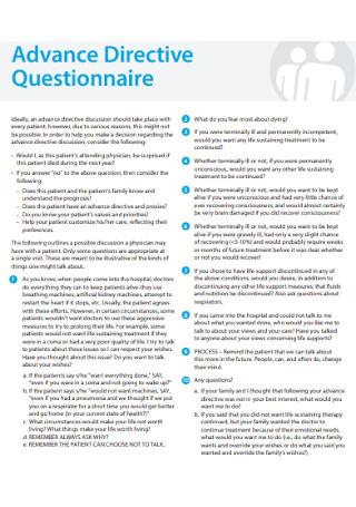 Basic Advance Directive Questionnaire