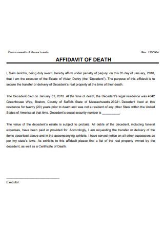 Basic Affidavit of Death