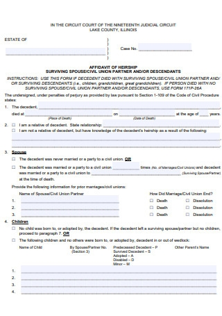 Basic Affidavit of Heirship