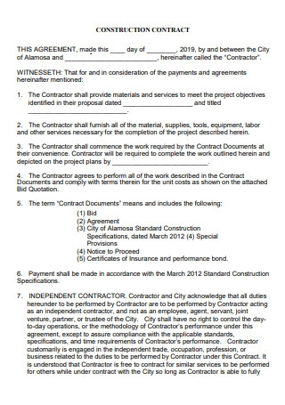 Basic Construction Contract Agreement