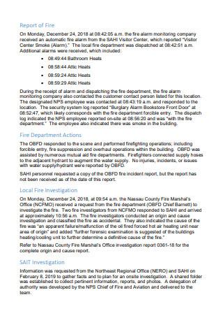 Basic Fire Investigation Report