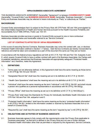 Basic HIPAA Business Associate Agreement
