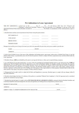 Basic Pet Addendum to a Lease Agreement