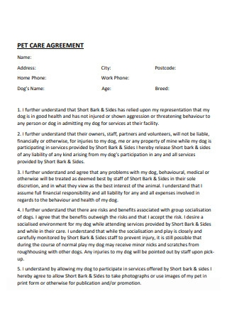 Basic Pet Care Agreement