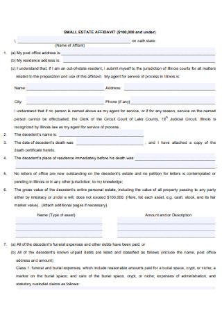 Basic Small Estate Affidavit