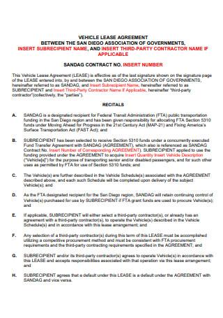 Basic Vehicle Lease Agreement