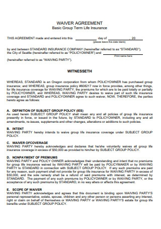 Basic Waiver Agreement