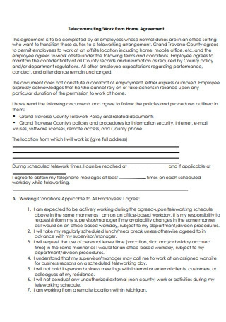 Basic Work From Home Agreement