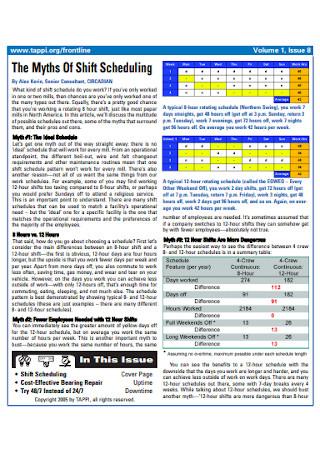 Basic Work Rotation Schedule