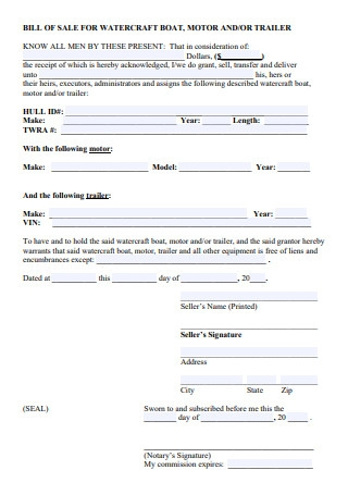 Bill of Sale For Watercraft Boat