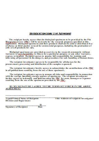 Biological Specimen User Agreement