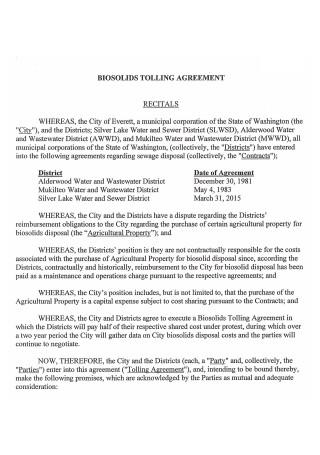 Biosolids Tolling Agreement