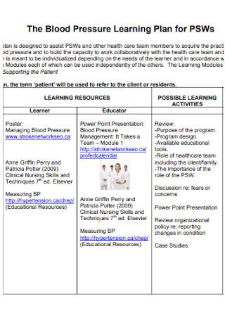 Blood Pressure Learning Plan