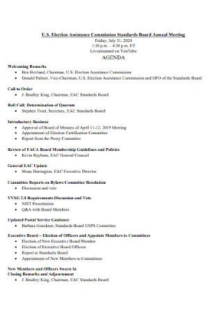 Board Annual Meeting Agenda