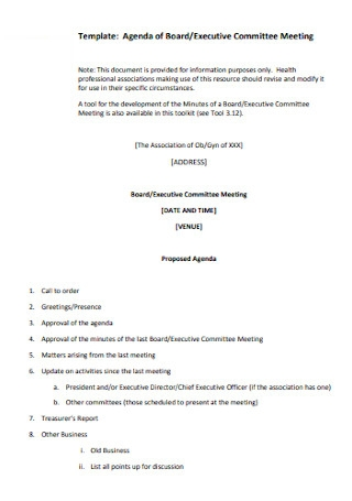 Board Executive Committee Meeting Agenda