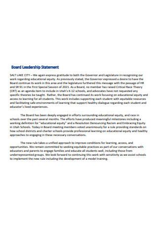 Board Leadership Statement