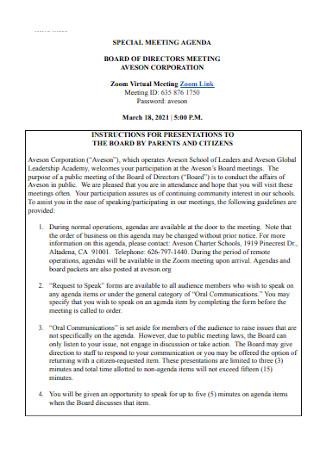 Board Special Meeting Agenda
