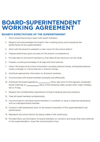Board Superintendent Working Agreement