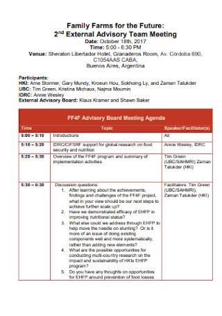 Board Tem Meeting Agenda