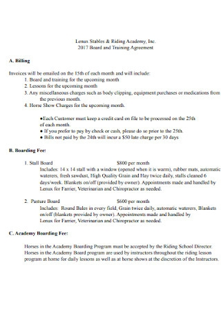 Board and Training Agreement