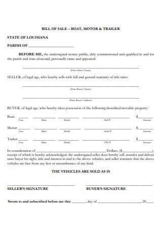 Boat Bill of Sale in PDF