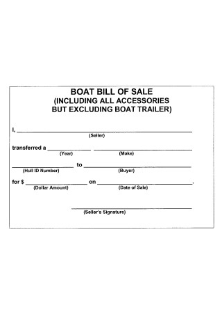 Boat Trailer Bill of Sale