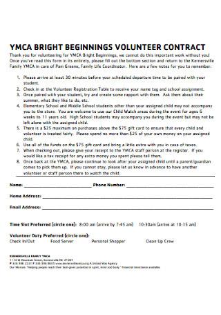 Briight Biginning Volunteer Contract