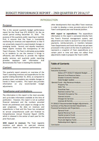 Budget Performamce Report