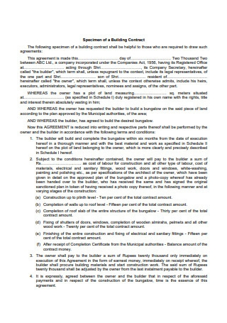 Building Contract in PDF