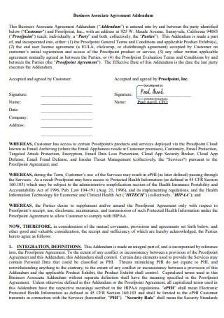 Business Associate Agreement Addendum