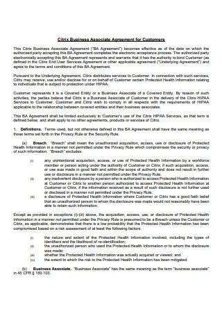 Business Associate Agreement For Customers