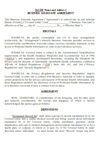 Business Associate Agreement in DOC