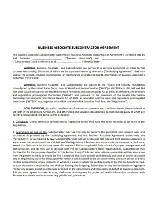 Business Associate Sub Contractor Agreement