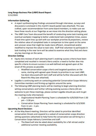 Business Plan Board Report