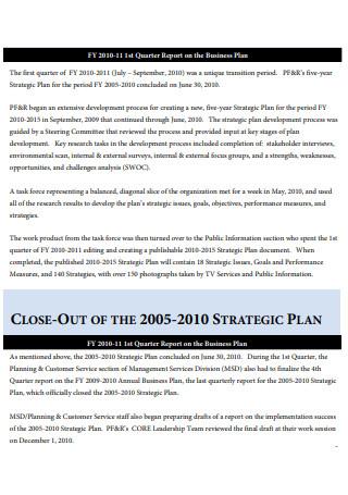 Business Plan First Quarter Report