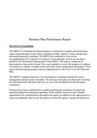 Business Plan Performance Report