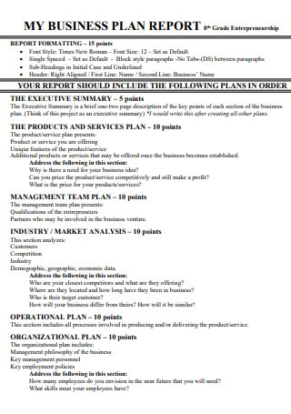 Business Plan Report Template