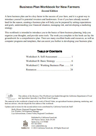 Business Plan Workbook for New Farmers
