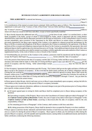 Buyer Occupancy Agreement