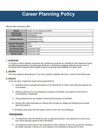 Career Plan Policy Template