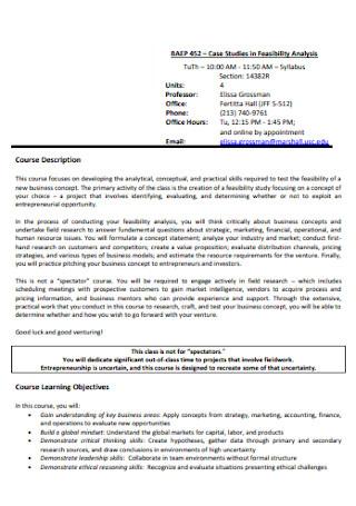Case Studies in Feasibility Analysis